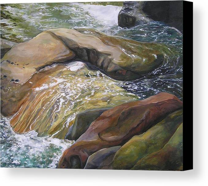 Water Canvas Print featuring the painting Living Water by Denise Ivey Telep