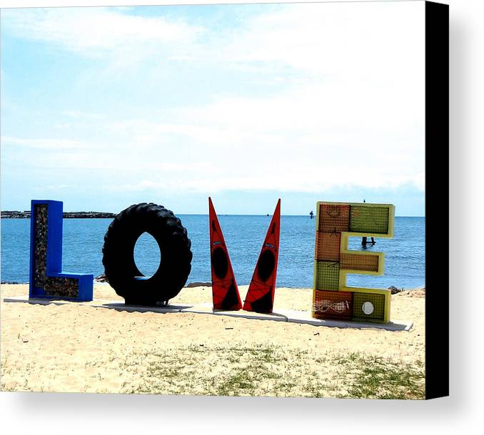 Love Canvas Print featuring the photograph Love On The Beach Found Art Outer Banks by Katy Hawk