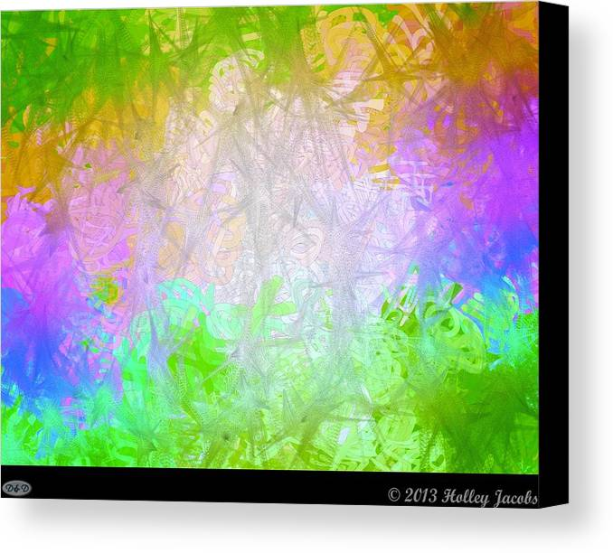 Abstract Canvas Print featuring the digital art Love You Right Green by Holley Jacobs