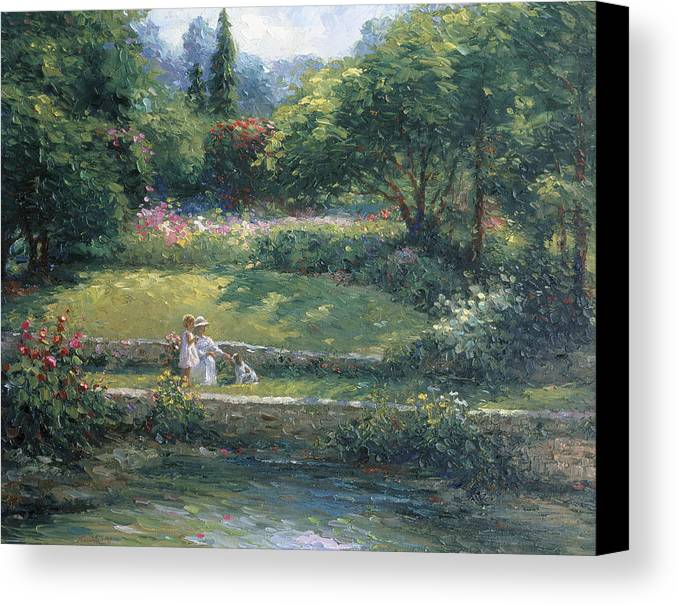 Woman Canvas Print featuring the painting Loyal Friendship by Ghambaro
