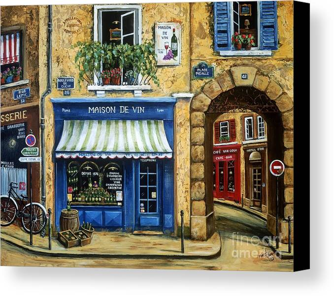 Wine Canvas Print featuring the painting Maison De Vin by Marilyn Dunlap