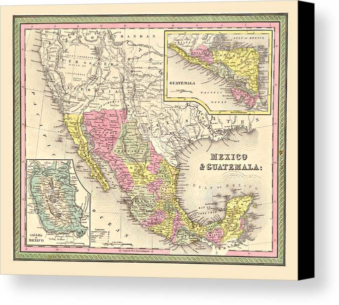 Vintage Canvas Print featuring the digital art Map Of Mexico by Gary Grayson