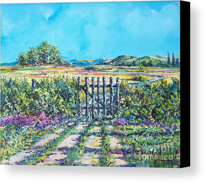 Nature Canvas Print featuring the painting Mary's Field by Sinisa Saratlic
