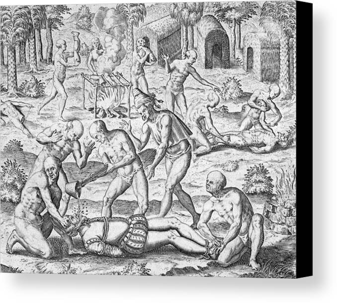 Theodore De Bry Canvas Print featuring the painting Massacre Of Christian Missionaries by Theodore De Bry