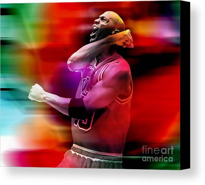 Michael Jordan Canvas Print featuring the mixed media Michael Jordon by Marvin Blaine
