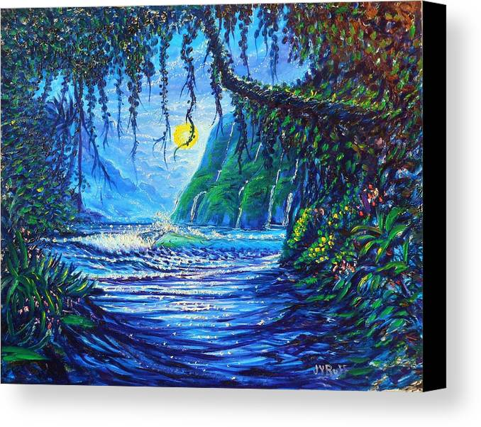 Seascape Ocean Eaves Surf Night Path Vision Plants Forest Jungle Scene Sand Beach Rocky Coast Cliffs Mountains Waterfalls Ivy Moonlite Moon Shine Shimmer Sparkle Reflections Peacefull Seren Serenity Spray Cresting Transparent Glow Light Ky Land Scvape Ravine Valley Harbor Canvas Print featuring the painting Moonlight Path To Paradise by Joseph  Ruff