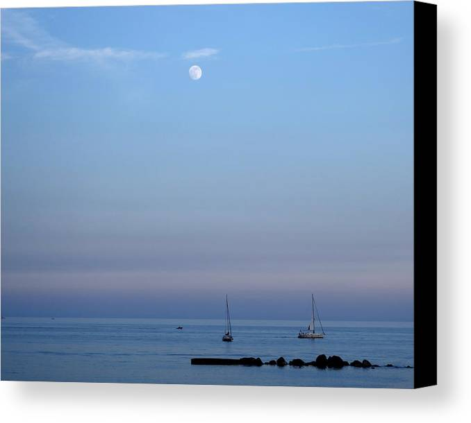 Barcelona Photography Canvas Print featuring the photograph Moonrise Over Barcelona by Toby McGuire