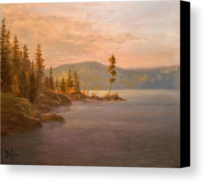Coeur D'alene Canvas Print featuring the painting Morning Light On Coeur D'alene by Paul K Hill