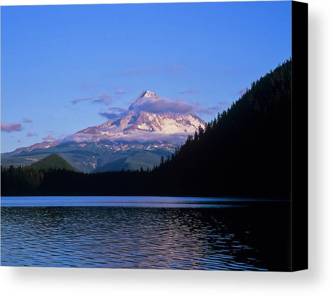 Blue Sky Canvas Print featuring the photograph Mount Hoods Looms Over Lost Lake Hood by Robert L. Potts