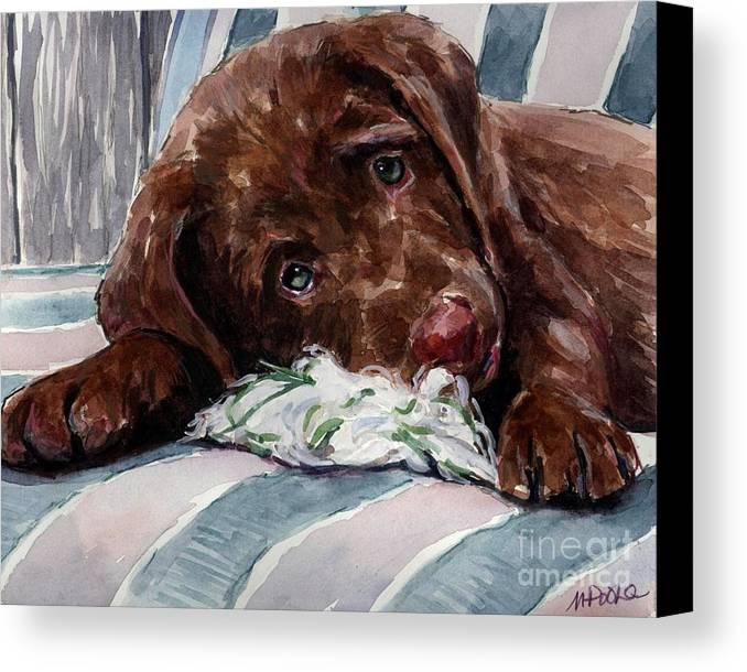 Chocolate Labrador Puppy Canvas Print featuring the painting My Rope Toy by Molly Poole