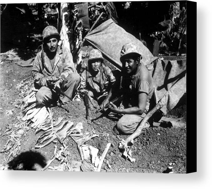 History Canvas Print featuring the photograph Navajo Code Talkers Landed by Everett