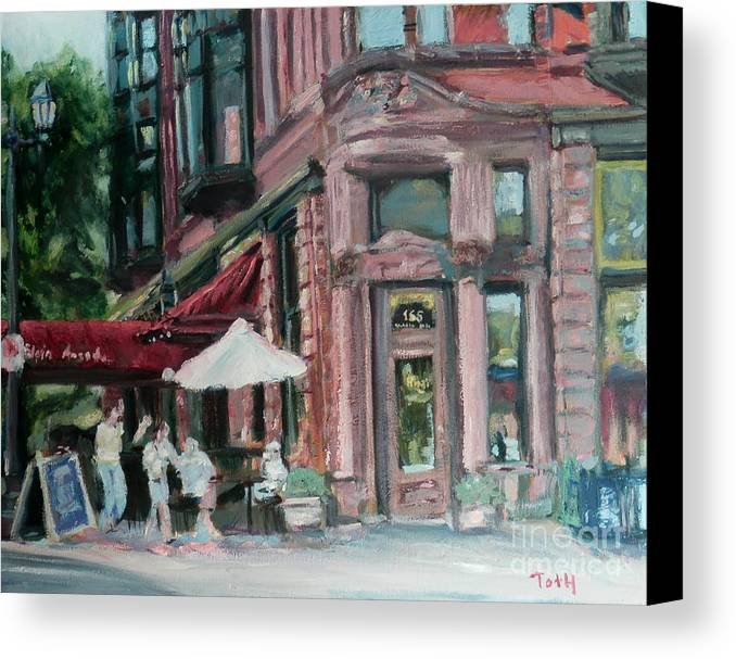 Nina's Cafe Canvas Print featuring the painting Ninas by Laura Toth