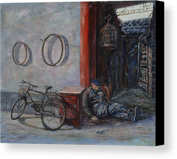 Ancient Canvas Print featuring the painting Old Man And His Bike by Xueling Zou