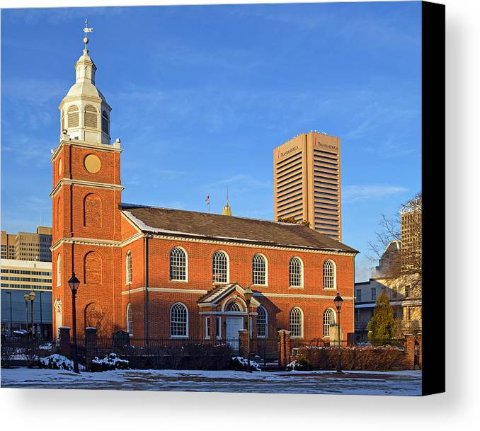 Old Otterbein United Methodist Church Canvas Print featuring the photograph Old Otterbein United Methodist Church by Bill Swartwout Fine Art Photography
