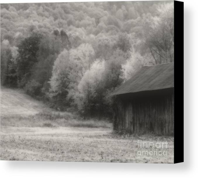 Tobacco Barn Canvas Print featuring the photograph Old Tobacco Barn In Black And White by Smilin Eyes Treasures