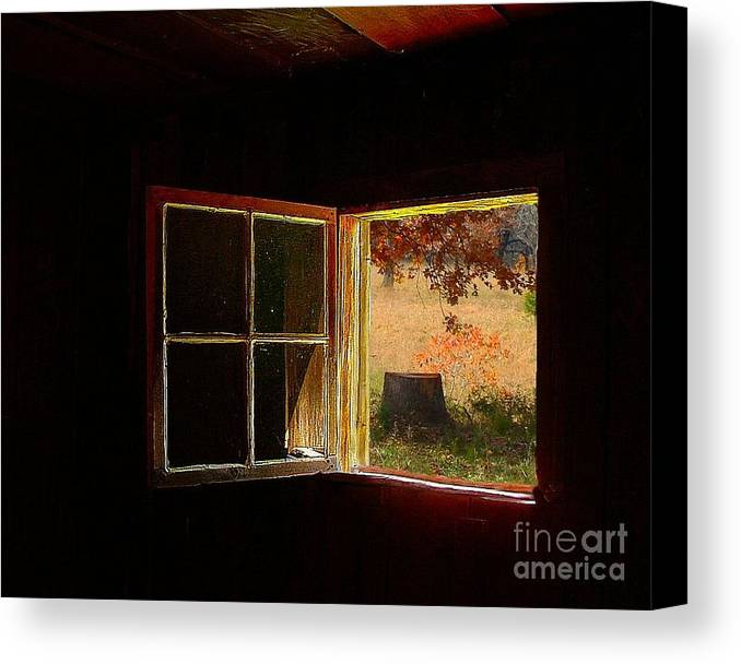 Log Cabin Art Canvas Print featuring the photograph Open Cabin Window II by Julie Dant