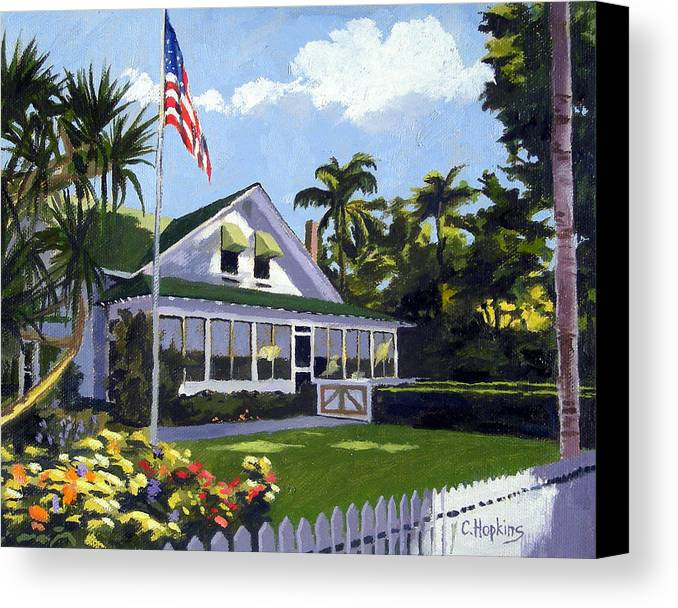 Christine Hopkins Canvas Print featuring the painting Palm Cottage Naples Florida by Christine Hopkins