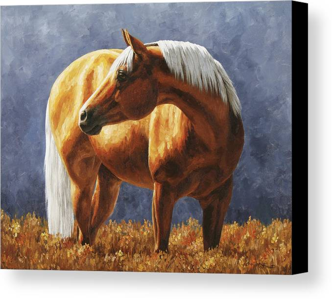 Horse Canvas Print featuring the painting Palomino Horse - Gold Horse Meadow by Crista Forest