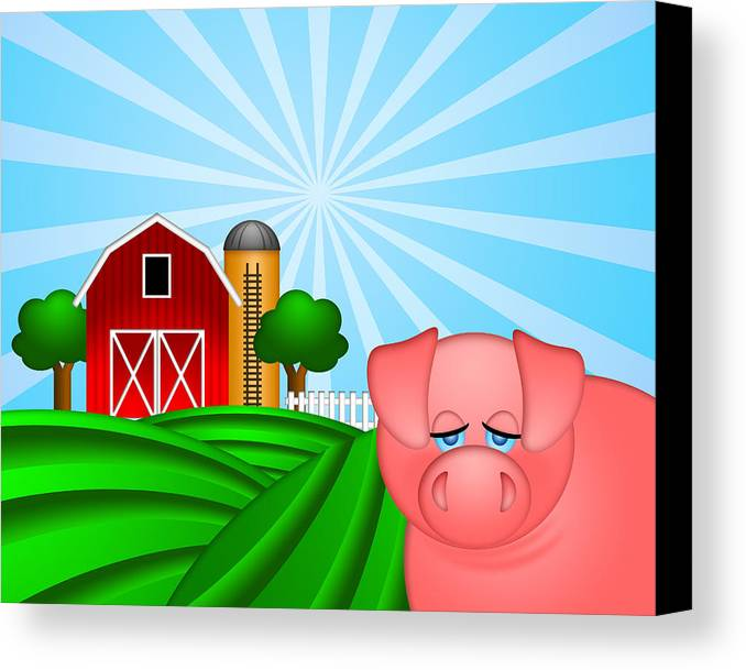 Red Canvas Print featuring the digital art Pig On Green Pasture With Red Barn With Grain Silo by JPLDesigns