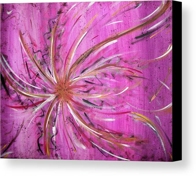 Abstract Canvas Print featuring the painting Pink Whisp by Lora Mercado