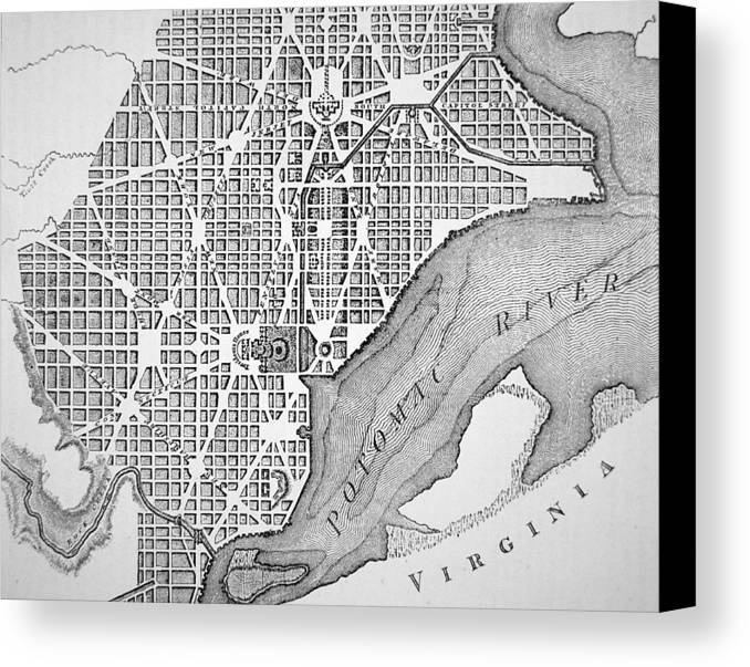 D C; Dc; Map; Potomac River; Streets; Town; Usa; Us; Urban Planning Canvas Print featuring the drawing Plan Of The City Of Washington As Originally Laid Out In 1793 by American School
