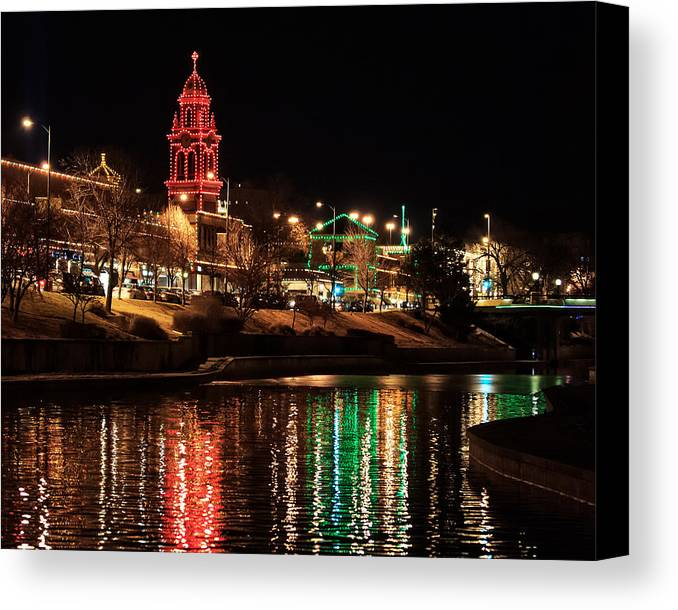 Country Club Plaza Canvas Print featuring the photograph Plaza Time Tower Night Reflection by Kevin Anderson