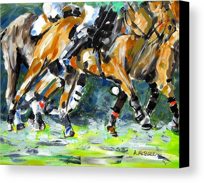 Polo Canvas Print featuring the painting Polo Thunder by Alan Metzger