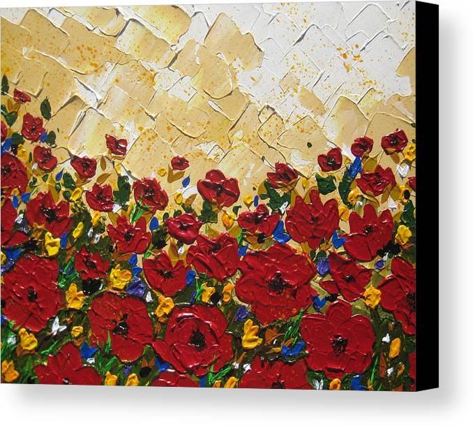 Poppies Canvas Print featuring the painting Poppies by Cathy Jacobs