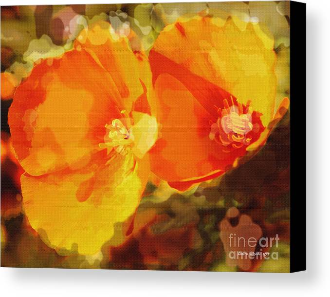 Abstract California Poppies Photographs Canvas Prints Canvas Canvas Print featuring the photograph Poppies On Fire by Artist and Photographer Laura Wrede