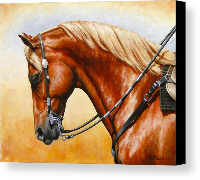 Horse Canvas Print featuring the painting Precision - Horse Painting by Crista Forest