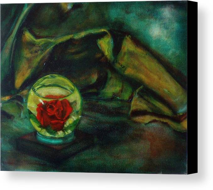 Still Life Canvas Print featuring the painting Preserved Rose . . Draped Canvas by Sean Connolly