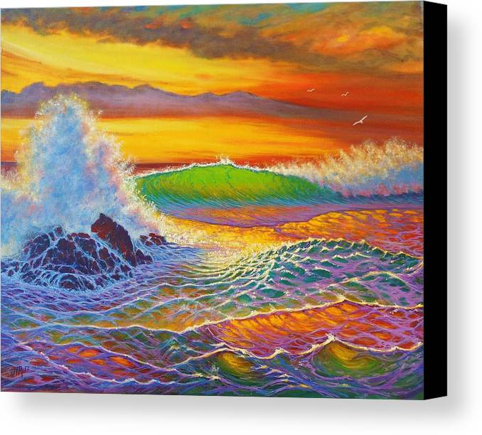 Seascape Sunset Surf Waves Patterns Reflectyions Colors Rainbow Rocks Ocean Spray Crashing Surf Seagulls Sky Colors Movement Patterns Rthym Surg Surging Coast Coastline Canvas Print featuring the painting Rainbow Sunset by Joseph  Ruff