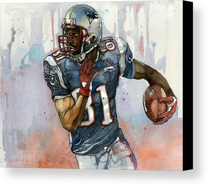 Randy Moss Canvas Print featuring the painting Randy Moss by Michael Pattison