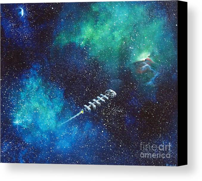 Spacescape Canvas Print featuring the painting Reaching Out by Murphy Elliott