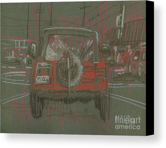 Jeep Canvas Print featuring the drawing Red Jeep by Donald Maier
