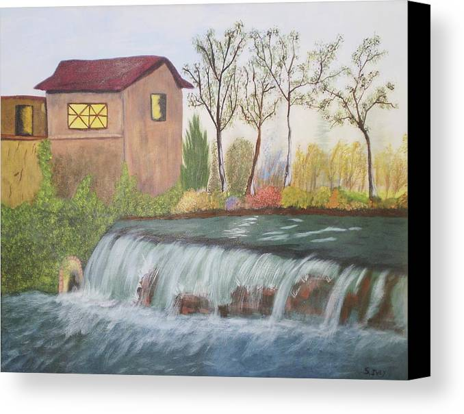 House Sitting Next To A Water Fall Canvas Print featuring the painting Rushing Water by James Ivey
