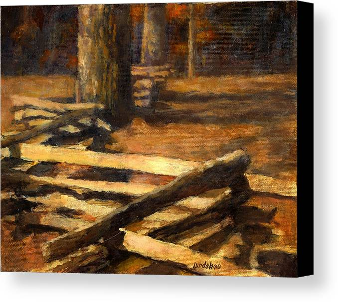 Rustic Log Fence Canvas Print featuring the painting Rustic Fence by Roger Lundskow