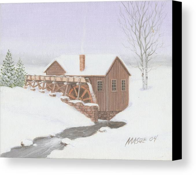 Mill Canvas Print featuring the painting Sandy Spring Grist Mill by Mark Massie