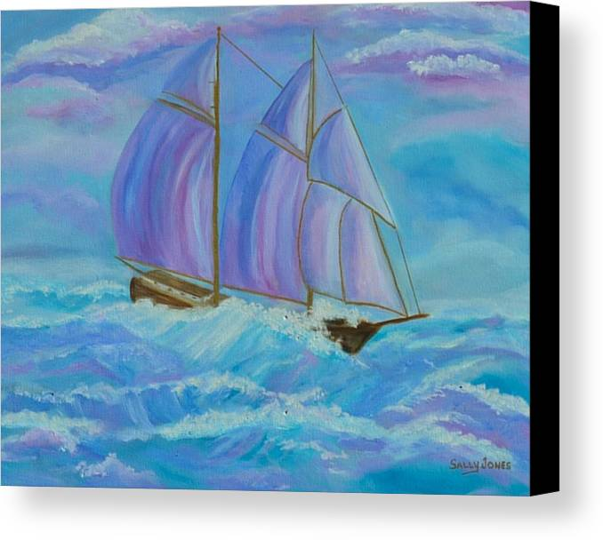 Seascape Canvas Print featuring the painting Schooner On The High Seas by Sally Jones