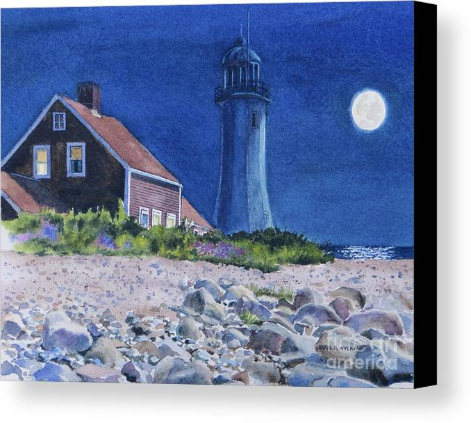 House Canvas Print featuring the painting Scituate Light By Night by Karol Wyckoff