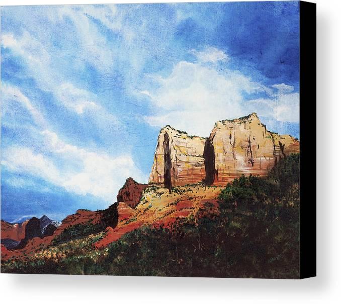 Sedona Arizona Canvas Print featuring the painting Sedona Mountains by Mary Palmer