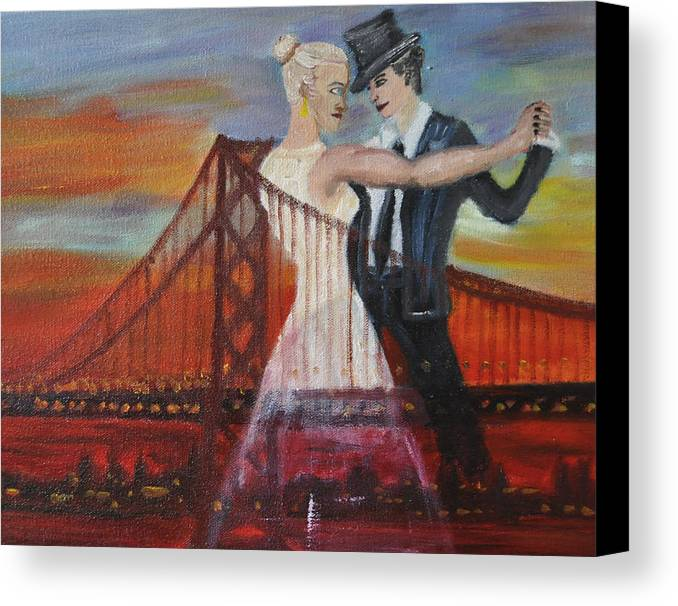 San Francisco Canvas Print featuring the painting Sf Scene 2 by Vykky Gamble