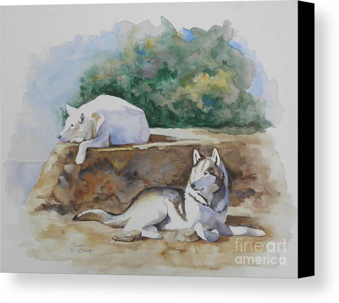 Wolves Canvas Print featuring the painting Siesta Time by Suzanne Schaefer
