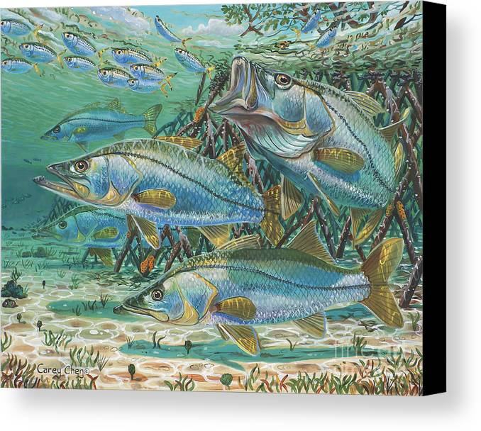 Snook Canvas Print featuring the painting Snook Attack In0014 by Carey Chen