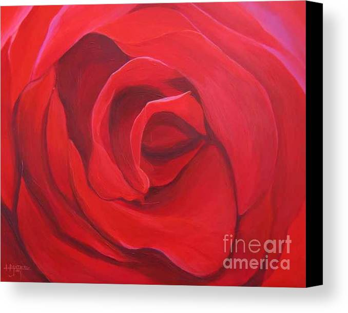 Rose In The Italian Countryside Canvas Print featuring the painting So Red The Rose by Hunter Jay