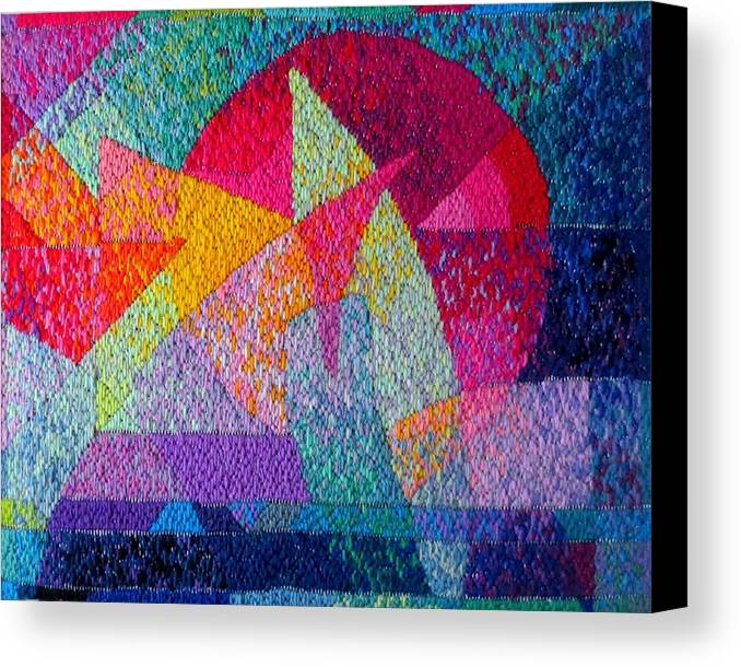 Abstract Expressionist Needlepoint Canvas Print featuring the tapestry - textile Solar Tapestry by Diane Fine