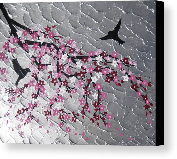 Birds Canvas Print featuring the painting Spring Is Here by Cathy Jacobs