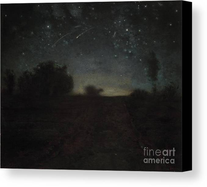 Black Canvas Print featuring the painting Starry Night by Jean-Francois Millet