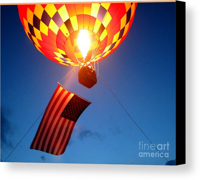 Hot Air Balloons Canvas Print featuring the photograph Stars And Stripes Glow by Paul Anderson