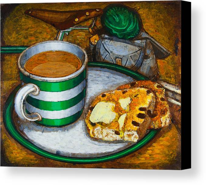 Tea Canvas Print featuring the painting Still Life With Green Touring Bike by Mark Jones